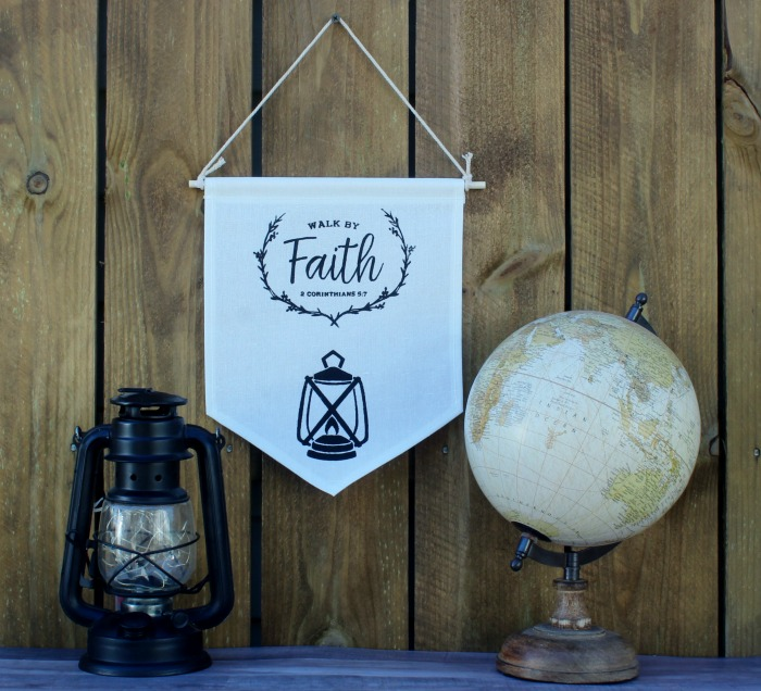 Chalk Couture transfers Walk by Faith Scripture pennant banner