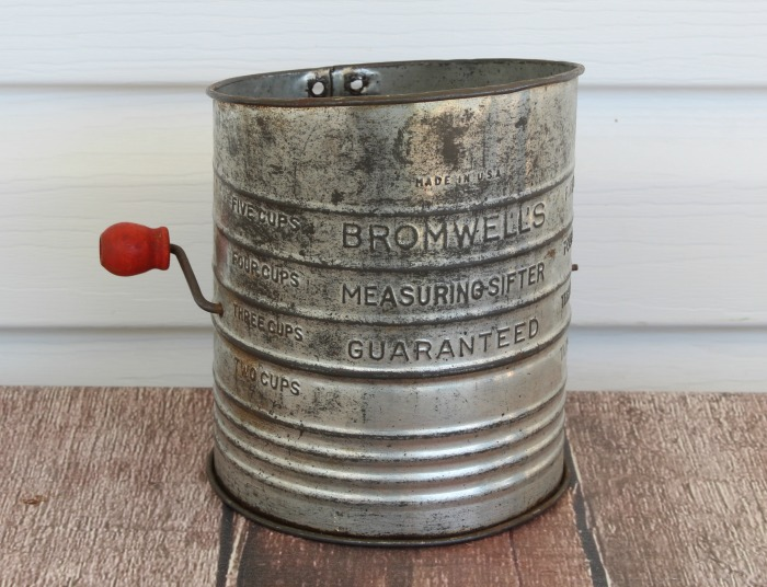 Antique Sifter for winter arrangement