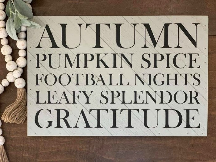 Chalk Couture Autumn Vibes transfer on Grey Reclaimed Diagonal Pallet Board