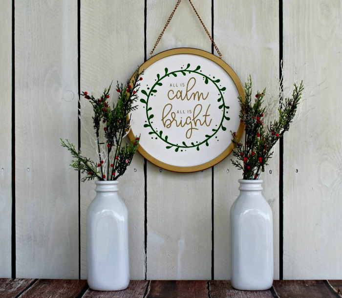 Chalk Couture Calm and Bright Gold Frame Christmas sign