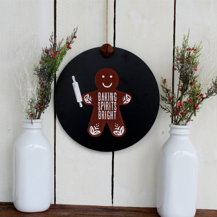 Chalk Couture Gingerbread Man Baking Spirits Bright Round Sign