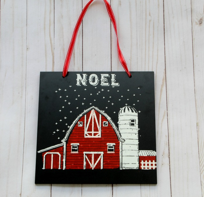 Farmhouse Christmas Red Barn Chalkboard Sign