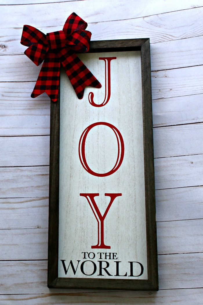 Joy to the World Wood Christmas Box Frame Sign