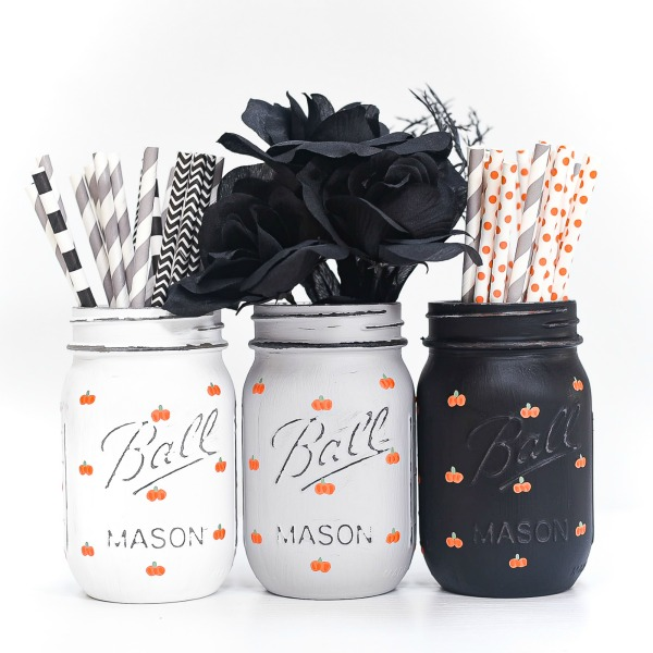 Painted Pumpkins on Mason Jars