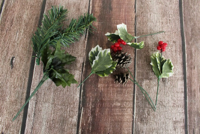 cut apart Christmas floral picks
