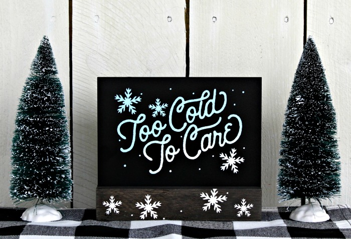 Chalk Couture Too Cold to Care board and base Winter decor