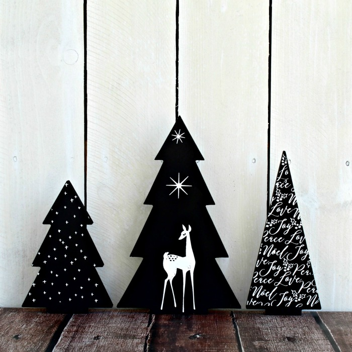 Chalk Couture Wood Tree Cutouts Christmas Tree Decor with Seasonal Deer
