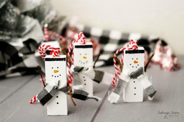 Repurposed Jenga Snowman Ornament