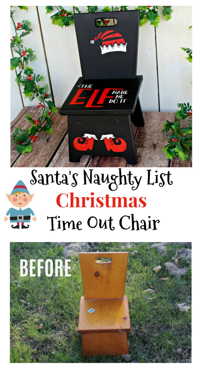 Blame it on the elf with an adorable and so easy thrift store chair makeover! See how Knick of Time transformed a child's chair into a Santa's naughty list time out chair with paint and an adhesive stencil. #Santa #naughtylist #timeout #christmaschild #elf #holidaycrafts #Christmascrafts #Christmasdecor #DIYChristmas #Xmas #christmasdecor #upcycled #chair #painedchair #chalkcouture #chalkart #followmychalkcouture #joinmyteam