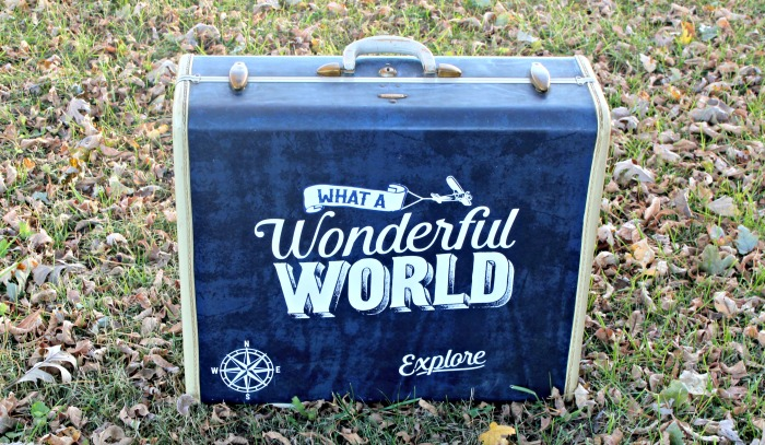 What a Wonderful World Stenciled Vintage Suitcase by Knick of Time