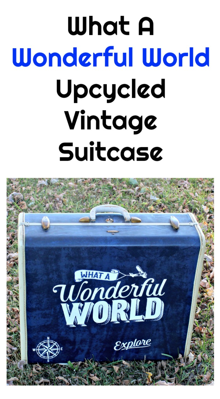 Chalk Couture Travel Stories Collection What a Wonderful World Upycled Vintage Suitcase by Knick of Time
