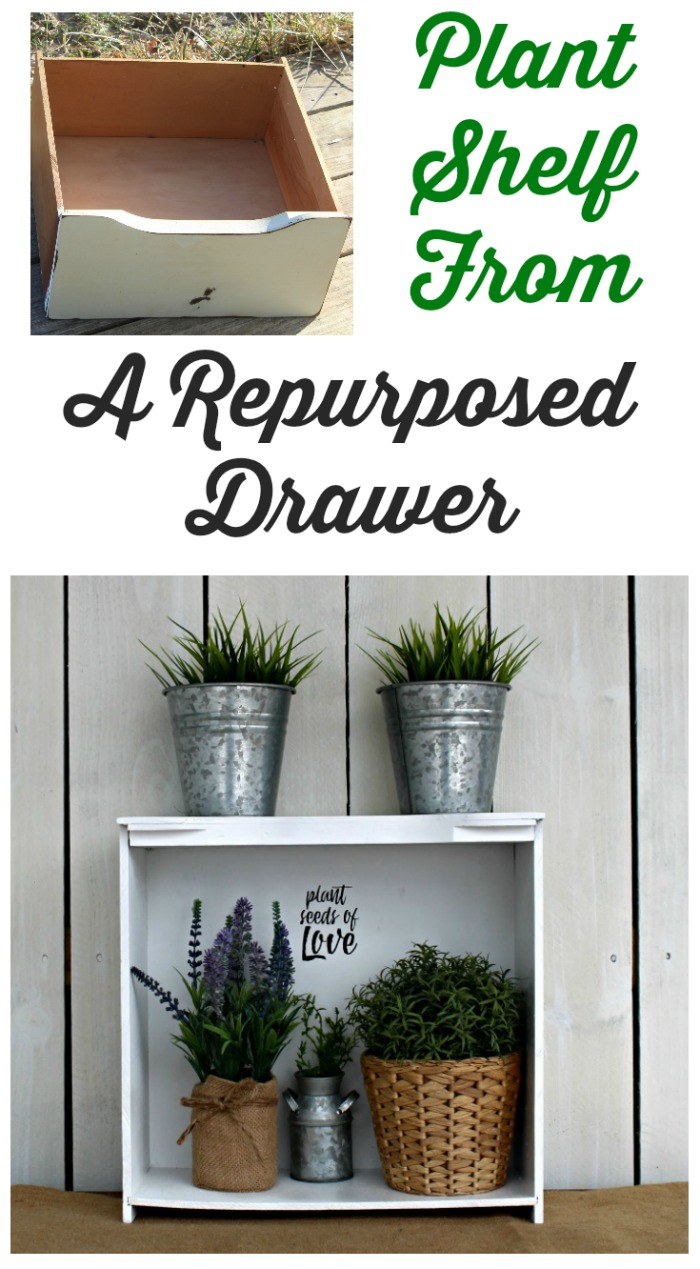 Farmhouse Repurposed Drawer Plant Shelf by Knick of Time
