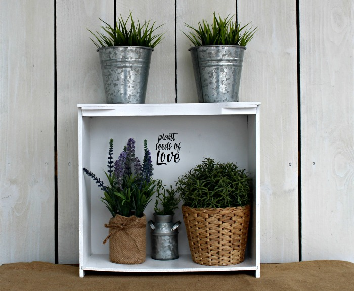 How to Make a Repurposed a Wood Drawer Plant Stand Shelf with a Chalk Couture silkscreen transfer by Knick of Time