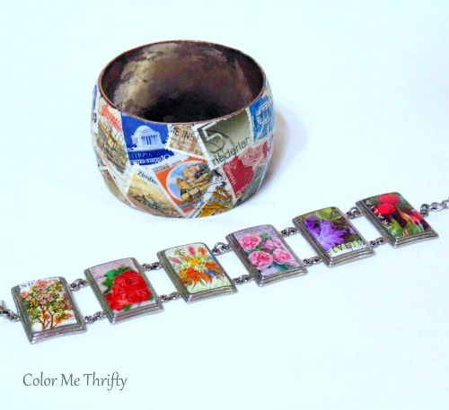 Decoupaged Bracelets with Stamps
