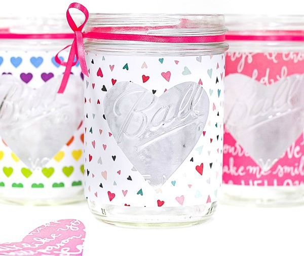 Heart cut out Mason Jar Craft Valentine Votive Holder