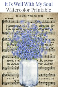 It Is Well With My Soul Watercolor Mason Jar Forget Me Not Flowers by Knick of Time