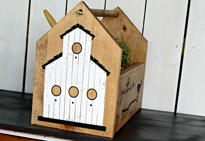 Feathered Friends Rustic Birdhouse Wooden Tote