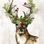 Christmas Deer Watercolor free printable