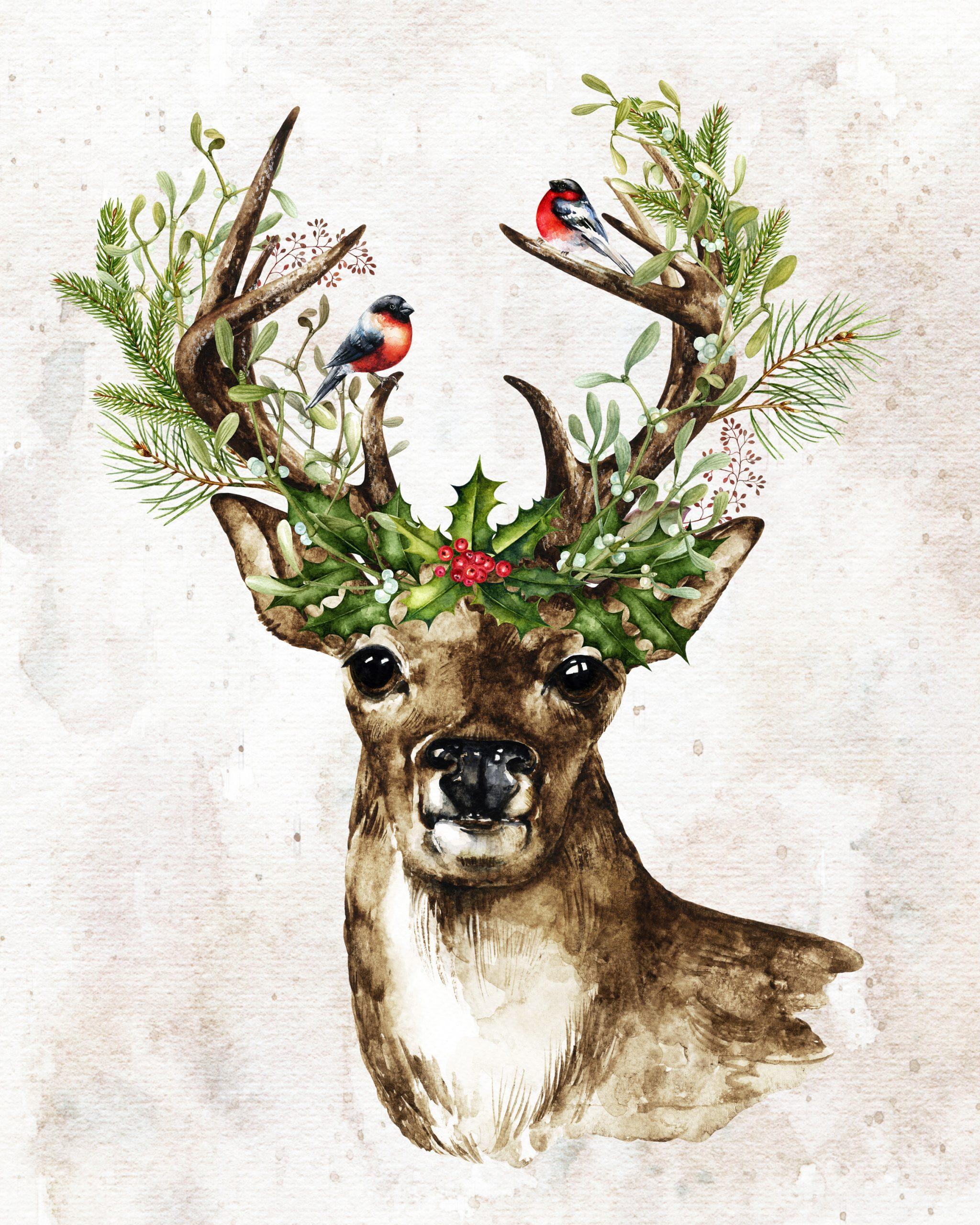 Christmas Deer Watercolor free printable