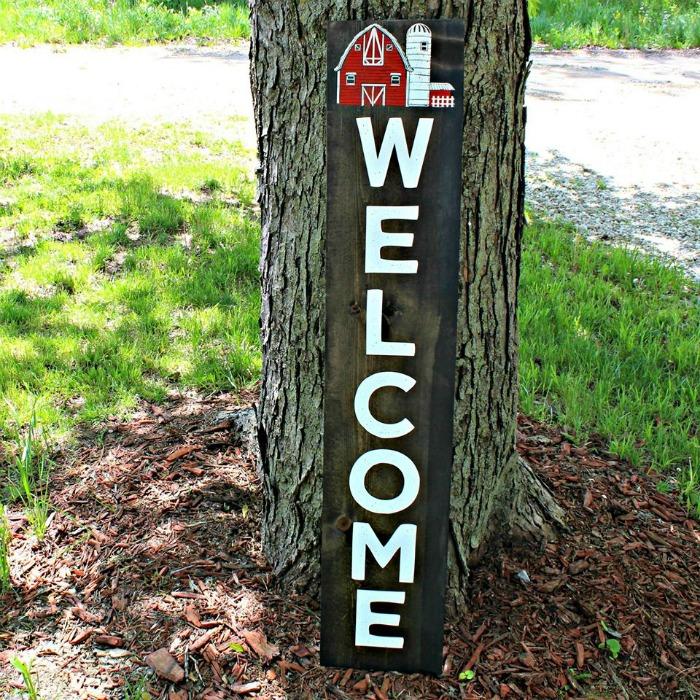 Farmhouse Barn Welcome Wooden Porch Sign